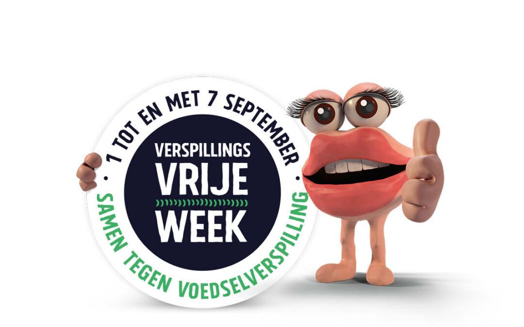 Een button van de verspillingsvrije week 2020 met mascotte Becky